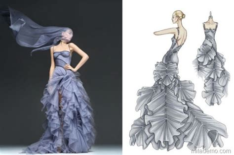 clothes designer wear the drawings of fashion designers from sketch to dress