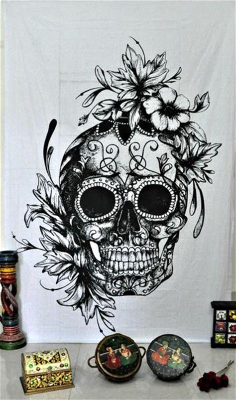 gothic skull tapestry wall hanging hippie psychedelic dorm