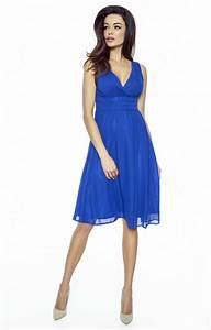 robe en mousseline bleu roi km km0117br idresstocode With robe bleu or