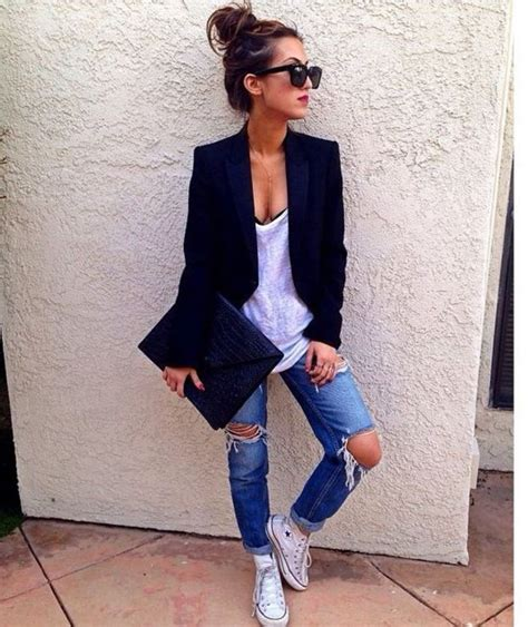 Mu00e1s de 25 ideas increu00edbles sobre Saco con jeans en Pinterest | Conjuntos para mujer con ...