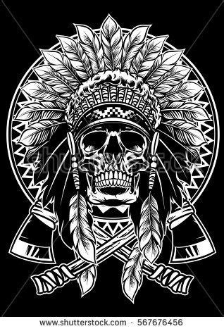 skull of native american warrior with tomahawk | Projects to try | Tribal tattoos native