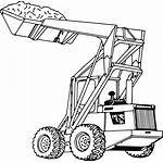 Loader Clipart Drawing Tractor Coloring End Svg