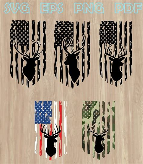 Distressed American Flag With Deer Svg – 160+ DXF Include