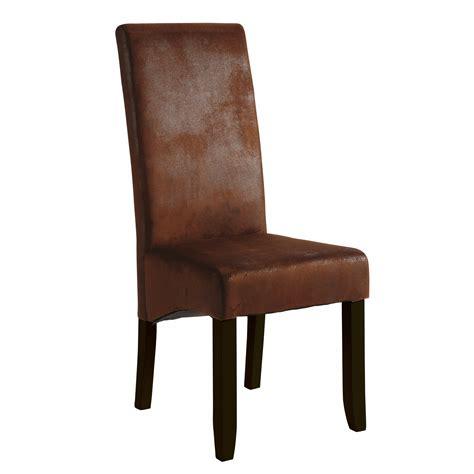 chaise tissu imitation cuir marron 46x60x108cm lot de 2 pretty delamaison