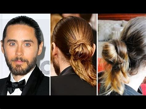 hair tutorial jared leto inspired man bun mens