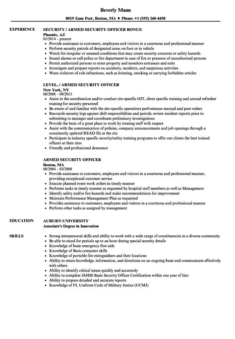 Skills For Security Guard Resume by 10 Sle Resumes Security Guard Payment Format