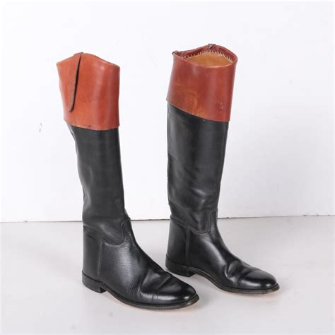 riding boots english equestrian leather marlborough ebth crop