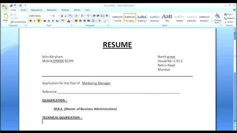 Make A Simple Resume by How To Create Simple Normal Resume For Apply