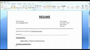 how to create simple normal resume for job apply perfect With how to make a new resume