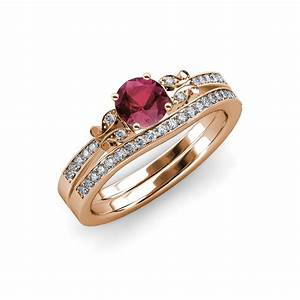 rhodolite garnet diamond butterfly engagement ring With garnet wedding ring set
