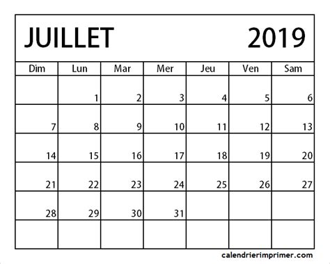 blanc calendrier juillet  modifiable calendrier