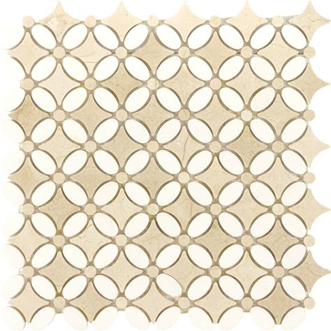 Marble Mosaic Tile by Kitchen Bathroom Floral Crema Marfil White Thassos