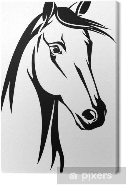 quadro su tela testa  cavallo disegno  bianco  nero