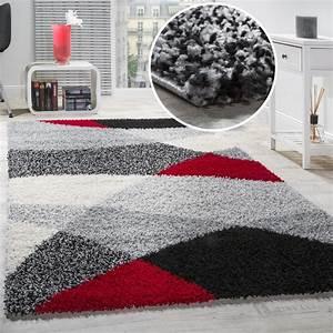 Teppich Langflor Grau : shaggy geometrisch gemustert grau rot hochflor teppiche ~ Orissabook.com Haus und Dekorationen