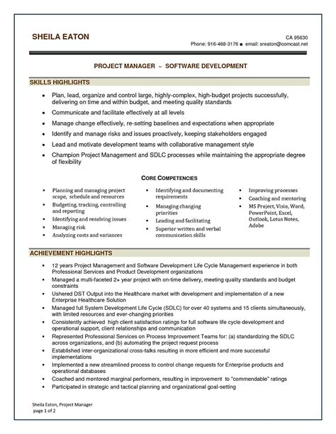Software For Resume by Software Project Manager Resume Sle Software Project