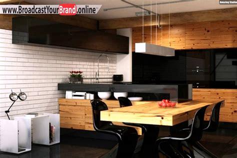 wohnideen holz wohnideen küche modern holz esstisch schwarze glas küchenrückwand weiße ziegelwand