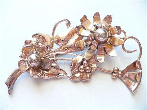 vintage estate  gold  sterling silver flower