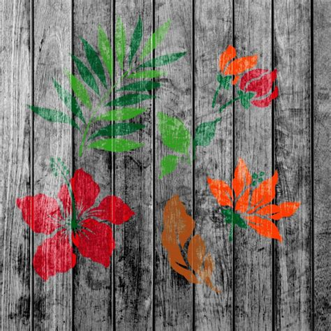 tropical flower stencils template pack   ideal