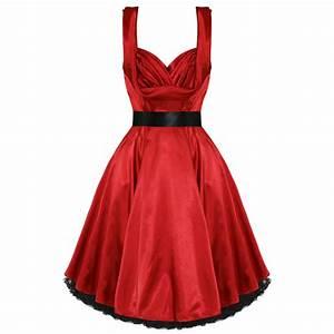 robe femme satin soiree vintage rouge pinup annee 50 bal With robe vintage année 30