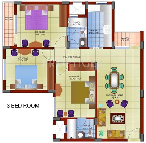 1450 Sq Ft 3 Bhk 2t Apartment For Sale In Gillco Heights