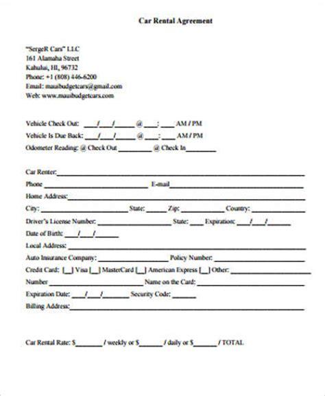 car rental agreement samples  word  format
