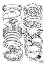 Coloring Bracelets Pages Jewelry Printable Drawing Books Paper Main sketch template