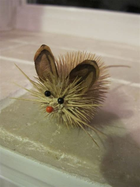 teasel animal critter mouse pine cone ears pin eyes