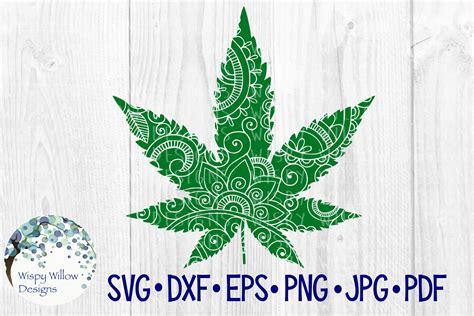 Marijuana Pot Leaf Zentangle Graphic By Wispywillowdesigns