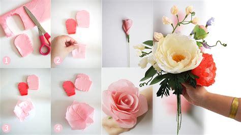 diy bridal bouquet  fresh  crepe paper flowers