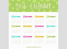 2018 calendar template with colored elements Vector Free