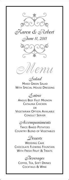 printable wedding menus wedding menu template