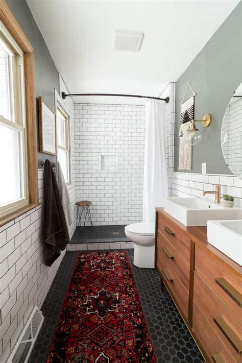 Modern Bathroom With Subway Tile Reveal  Bright Green Door