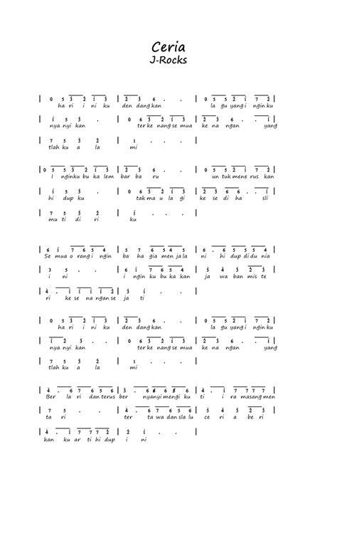 not angka lagu armada kumpulan not angka not angka j rocks ceria