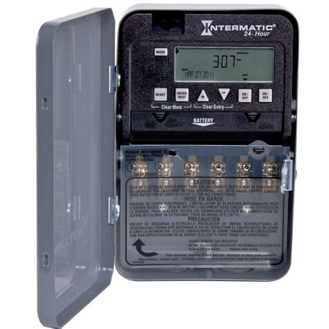 24hr home depot intermatic 30 amp 24 hour spst 2 circuit electronic time switch et1125c the home depot