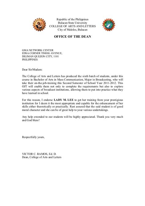 ojt endorsement letter