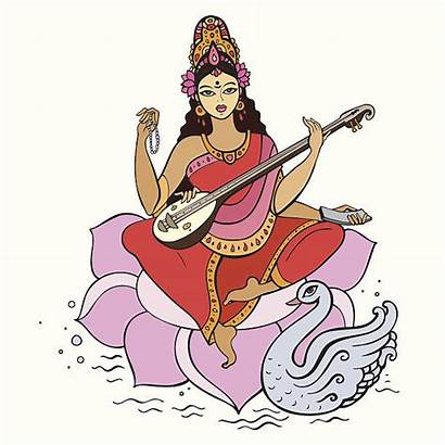 Saraswati Goddess Vector Woodcutter Axe Clip Golden