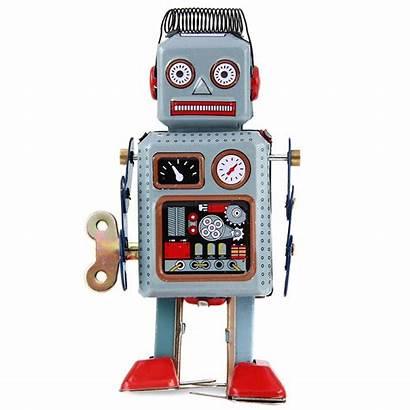 Robot Flashcards Retro Speelgoed Wind Molla Pensieri