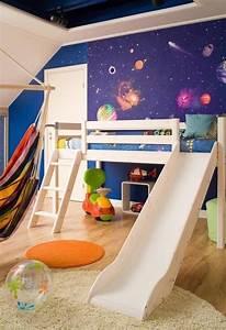 Ideen Für Kinderzimmer Wandgestaltung : ideen wandgestaltung kinderzimmer tapete weltall hochbett ~ Lizthompson.info Haus und Dekorationen