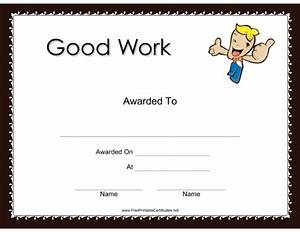 Free Fun Awards Certificates Good Work Certificate Award Lessons Worksheets And Activities