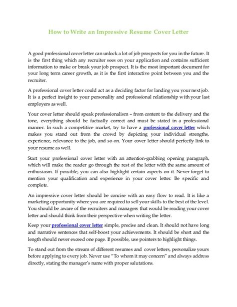 How To Make An Impressive Cover Letter by How To Write An Impressive Resume Resume Ideas