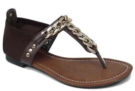 New Women Gladiator Gold Chain Flat Sandals