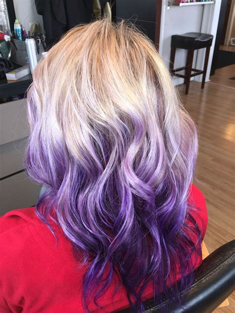 Blonde With Purple Violet Ombré Balayage Hair Purple