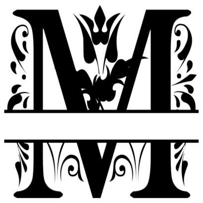 fancy split font monogram letters  stencils printables templates  monogram fonts