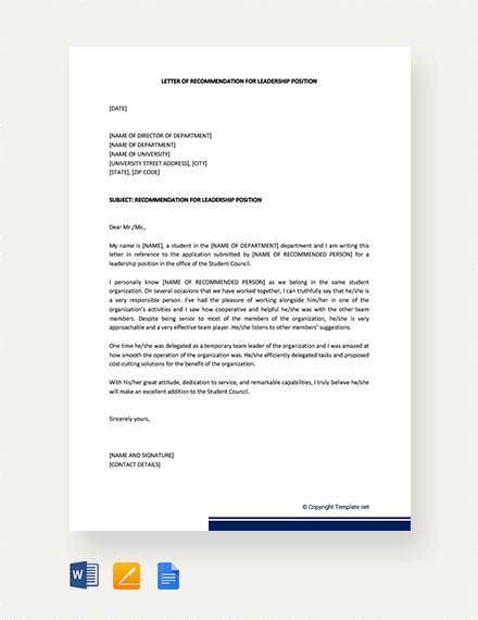 sample leadership recommendation letter templates