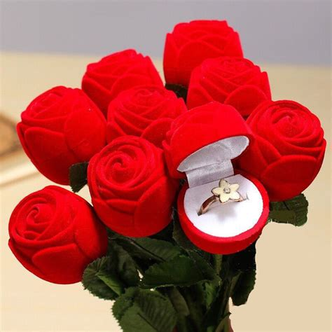 elegant rose ring boxes fashion earrings ring jewelry gift box engagement