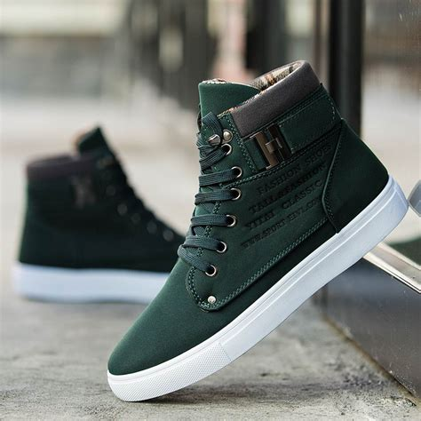 Fashion Mens Oxfords Casual High Top Shoes Leather