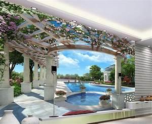 Home Decoration 3d swimming balcony Mural 3d wallpaper 3d ...