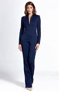 Combinaison Pantalon Femme Bleu Marine : combinaison zipp e manches longues bleu marine cockm04 idresstocode boutique de d shabill s ~ Dallasstarsshop.com Idées de Décoration