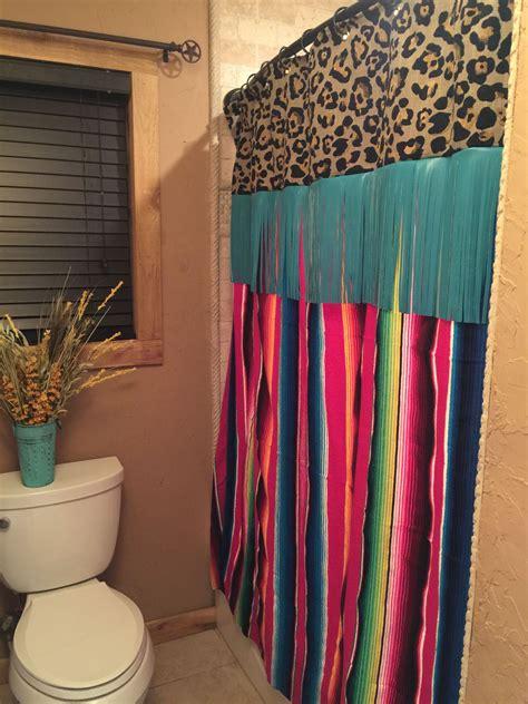 love  serape shower curtain bathroom
