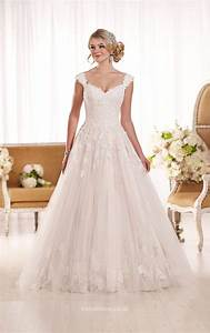 cap sleeves floor length chapel train a line lace wedding With lace a line wedding dress